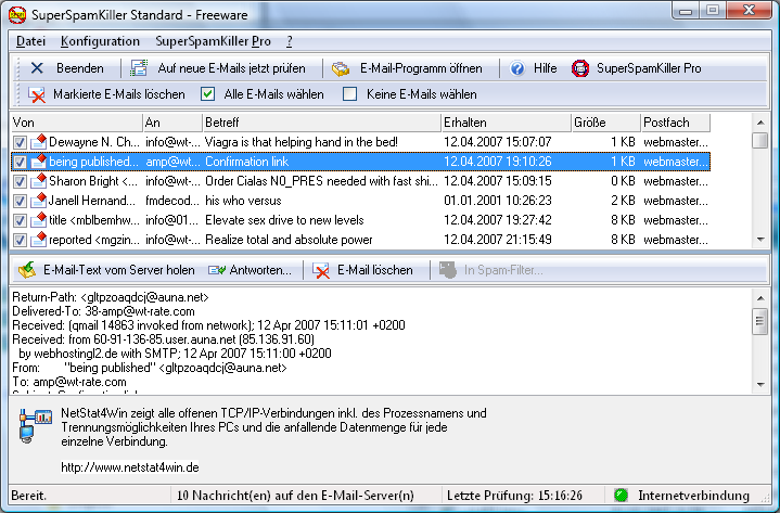 Screenshot vom Programm: SuperSpamKiller